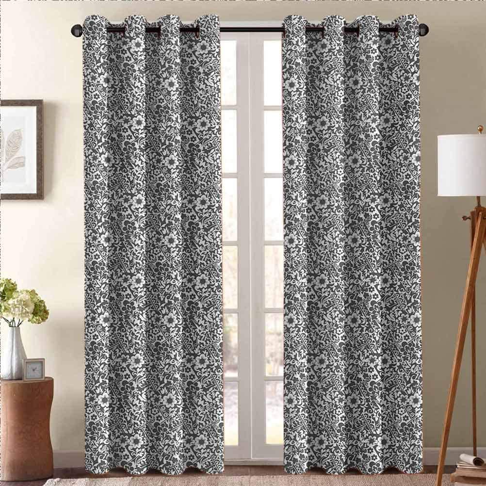 ScottDecor Damask Elegant Drapes Privacy Protection and Home Decoration Cute Daisy Blossoms Paisley Inspired Details Rich Royal Antique Composition Dark Taupe White 50