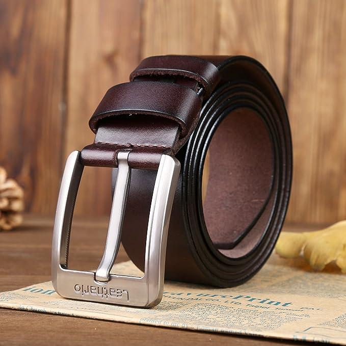 Leathario ceinture en cuir unisexe ceintures cuir véritable pour hommes de  longueur 120cm ceintures de boucles fixation de aiguille en couleur cafe  fonce  ... 1a14afecb53