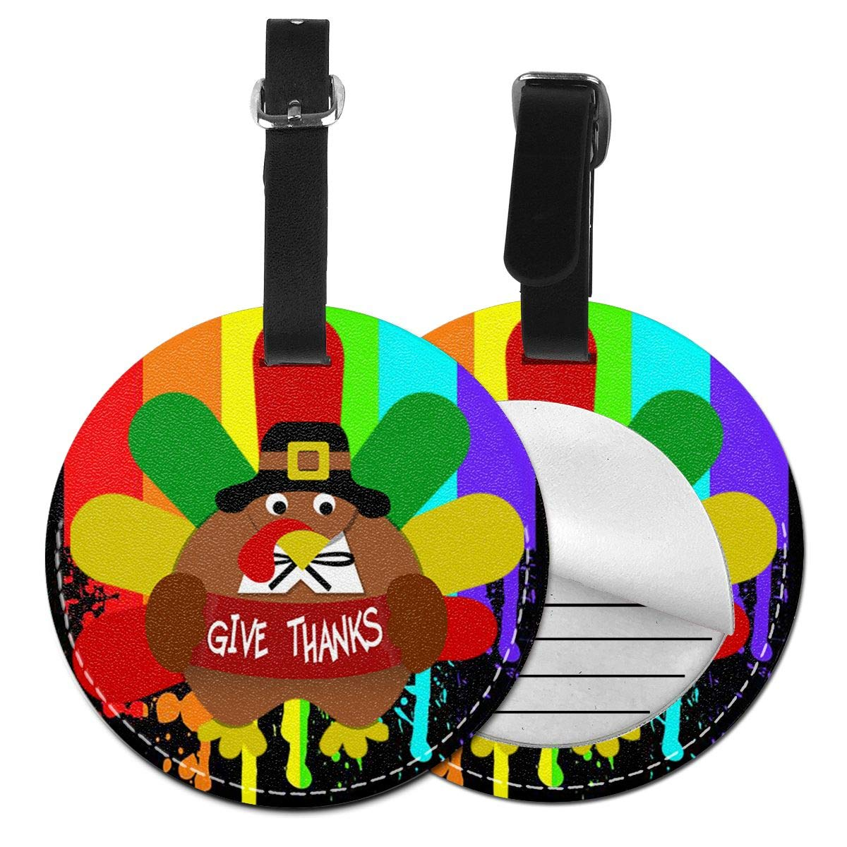 Free-2 Give Thanks Turkey Thanksgiving Luggage Tag 3D Print Leather Travel Bag ID Card
