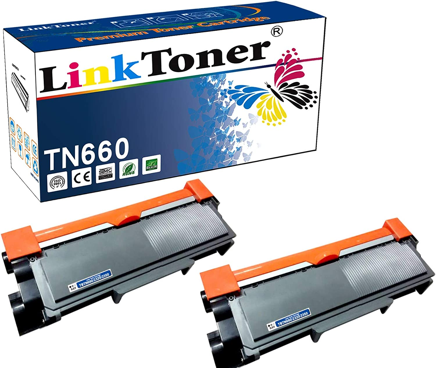 LinkToner TN660 Compatible Toner Cartridge Replacement for Brother Tn-660 TN630 Used with Brother Laser Printer Black High Yield 2 Pack