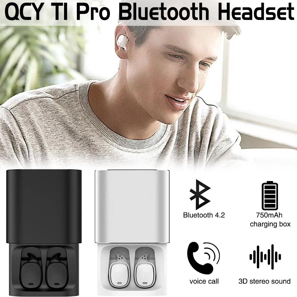 StageOnline Auriculares Bluetooth, QCY T1 Pro Touch Bluetooth Auriculares TWS Mini Auriculares inalámbricos con Mic andsfree Music Auriculares y 750mAh Caja ...