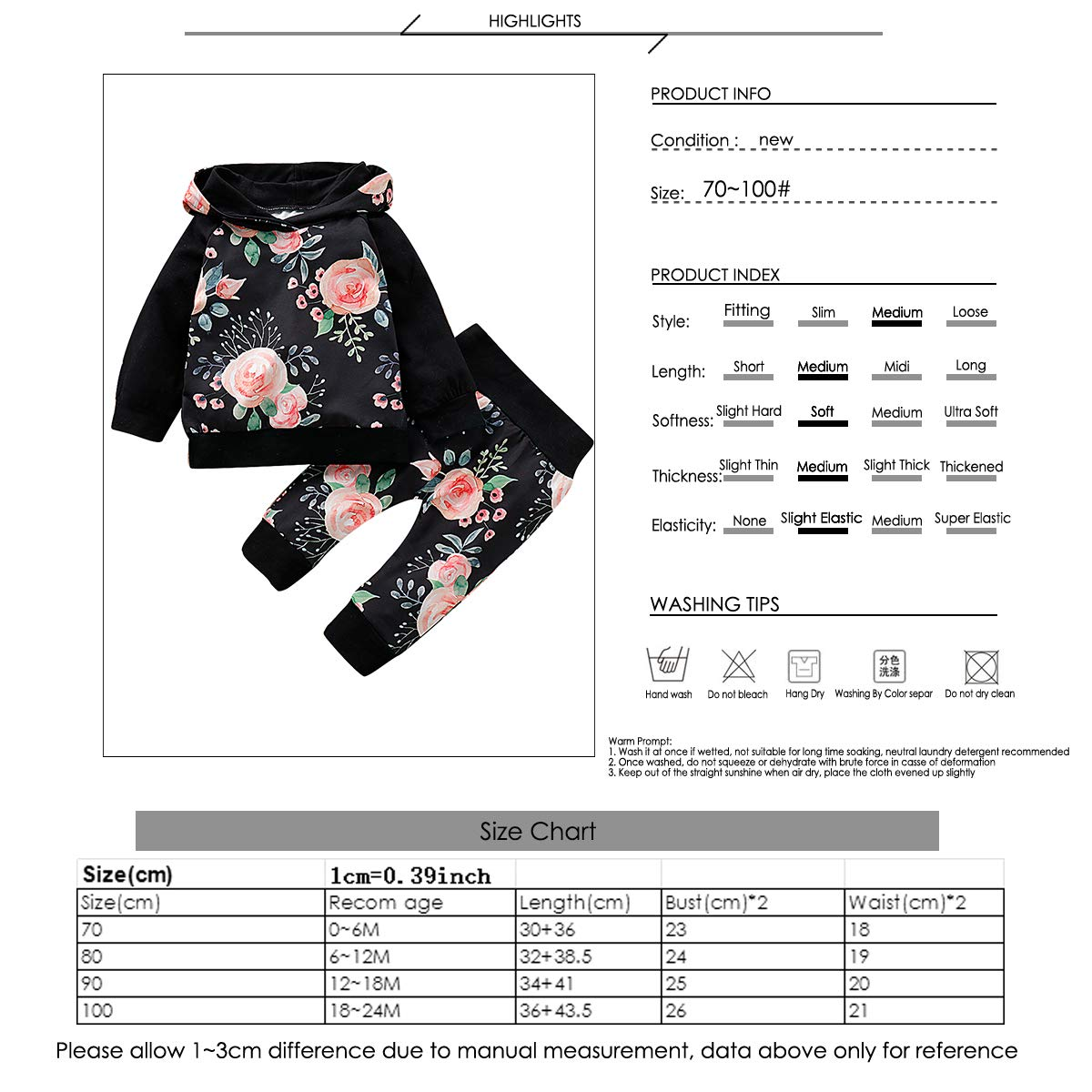 Borlai Hoodie for Baby Boys Girls Floral Hooded Top and Pants for Newborn Baby Toddler 2PCS Long Sleeve Fashion Outfit Clothes Set 0-24M