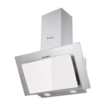 Campana extractora de pared (60 cm, acero inoxidable, cristal blanco, iluminación LED, 3 niveles, pulsadores) BASE604WED - KKT KOLBE