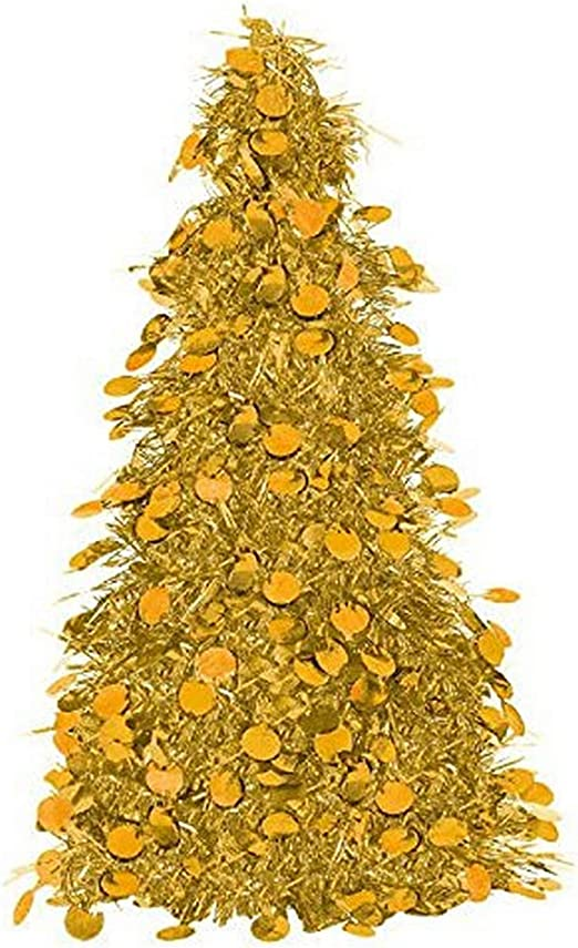 Gold Tinsel Christmas Tree Table Centerpiece Party Decoration Amscan AMI 240597