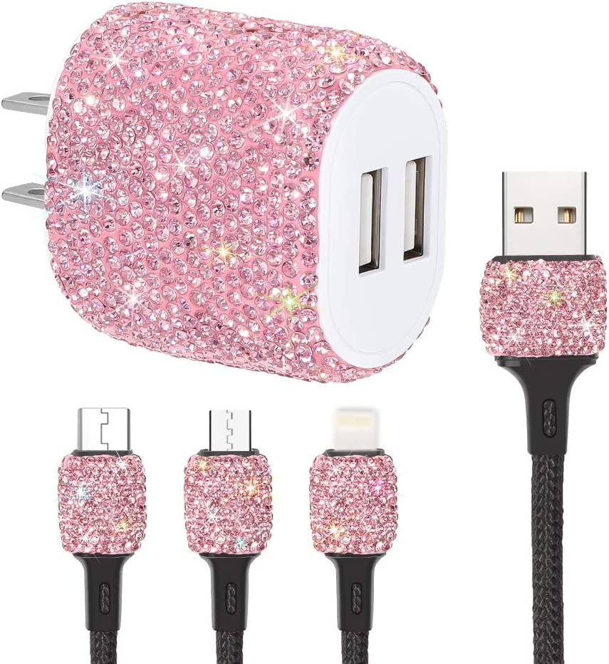 SAVORI Dual USB Wall Charger, Bling Rhinestones Wall Charger Plug Power Adapter with USB 3-in-1 Multi Charging Cable Compatible with iPhone iPad Android Type C Phones (Pink)