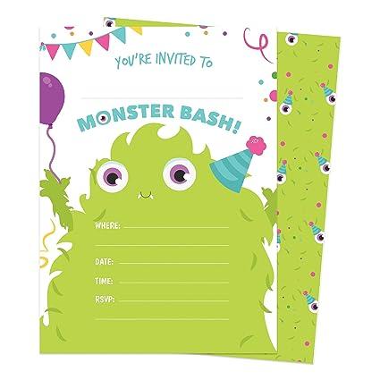 Amazon.com: Monster Happy tarjetas de invitaciones de ...