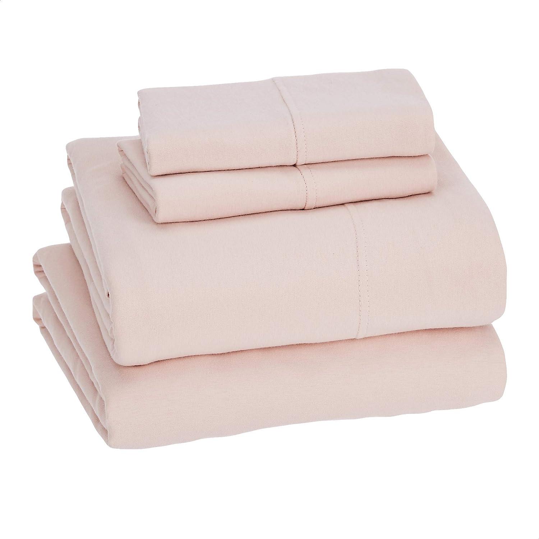 Amazon Basics Cotton Jersey Pink Bed Sheet