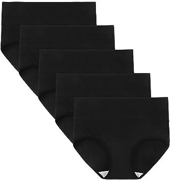 896afdb40b93 Innersy Women's High Waisted Tummy Control Full Brief Cotton Underwear 5- Pack (X-
