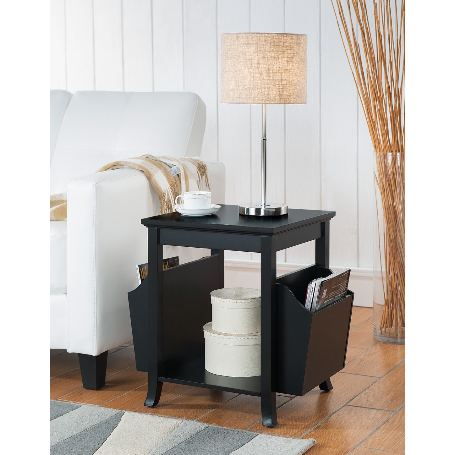 K and B Furniture Co Inc K & B Furniture Black Wood Veneer Accent Table with Magazine Rack