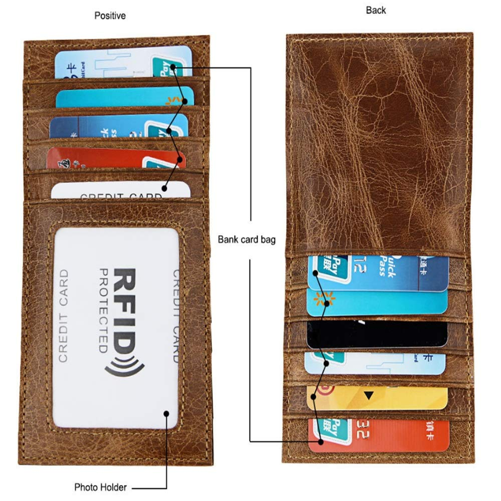Wallets High Capacity Genuine Leather Credit Card Holder Zipper Wallet with RFID Blocking Travel Thin Color : Black