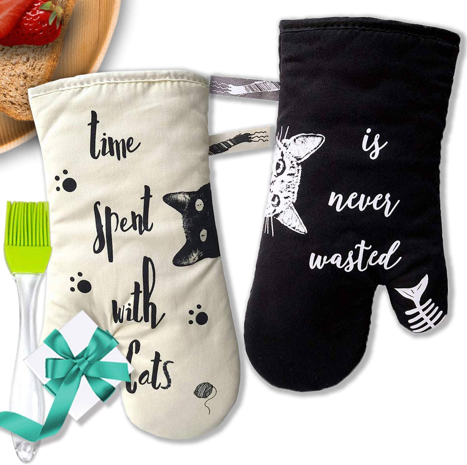 Oven Mitts,Cute Cats &Dogs Oven Mitts,100% Cotton Lining Gloves Cooking Glove Heat Resistant Baking Glove,Funny Gift Friends,Potholder Kitchen Gloves,BBQ Gloves 1 Pair (Cute Cats)