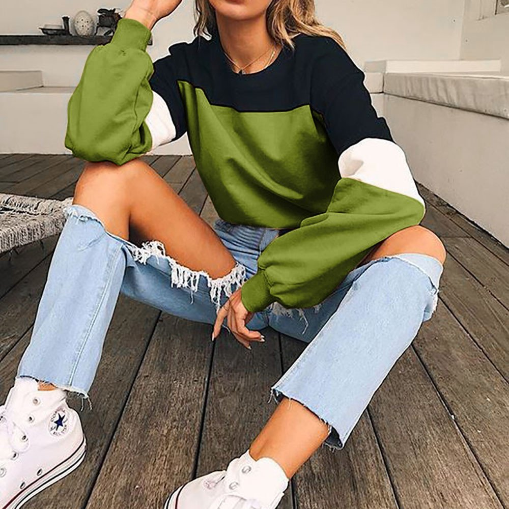 HARRYSTORE Women Long Sleeve Pullover Jumper Splcing Color Sweatshirt Teen Girls Crop Top Loose Hoodie Sport Workout Fitness Loose Pullover Tops Blouse Sweater