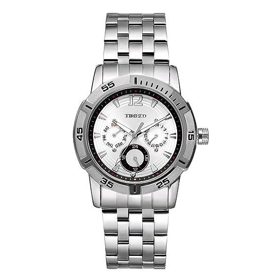 Time100 Fashion Reloj Pulsera de curazo de Metal para Hombre con abundantes Funciones y esferas Diferentes Correa de Metal