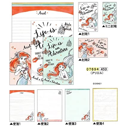disney princess ariel little mermaid letter set envelope writing paper 07694