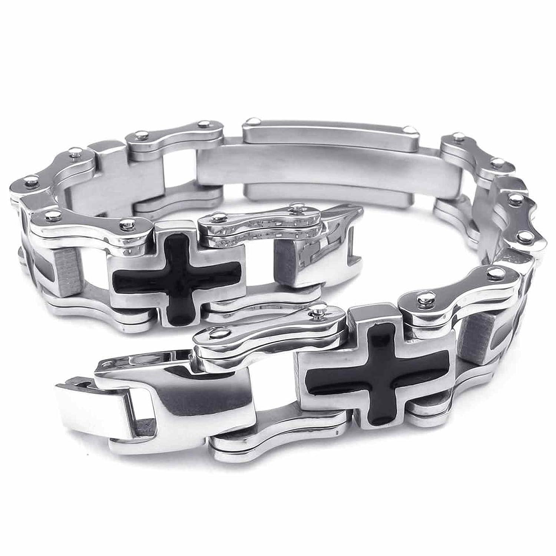 ANAZOZ Stainless Steel Black Cross Links Bangle Silvery Bracelet Chunky Mens Jewelry