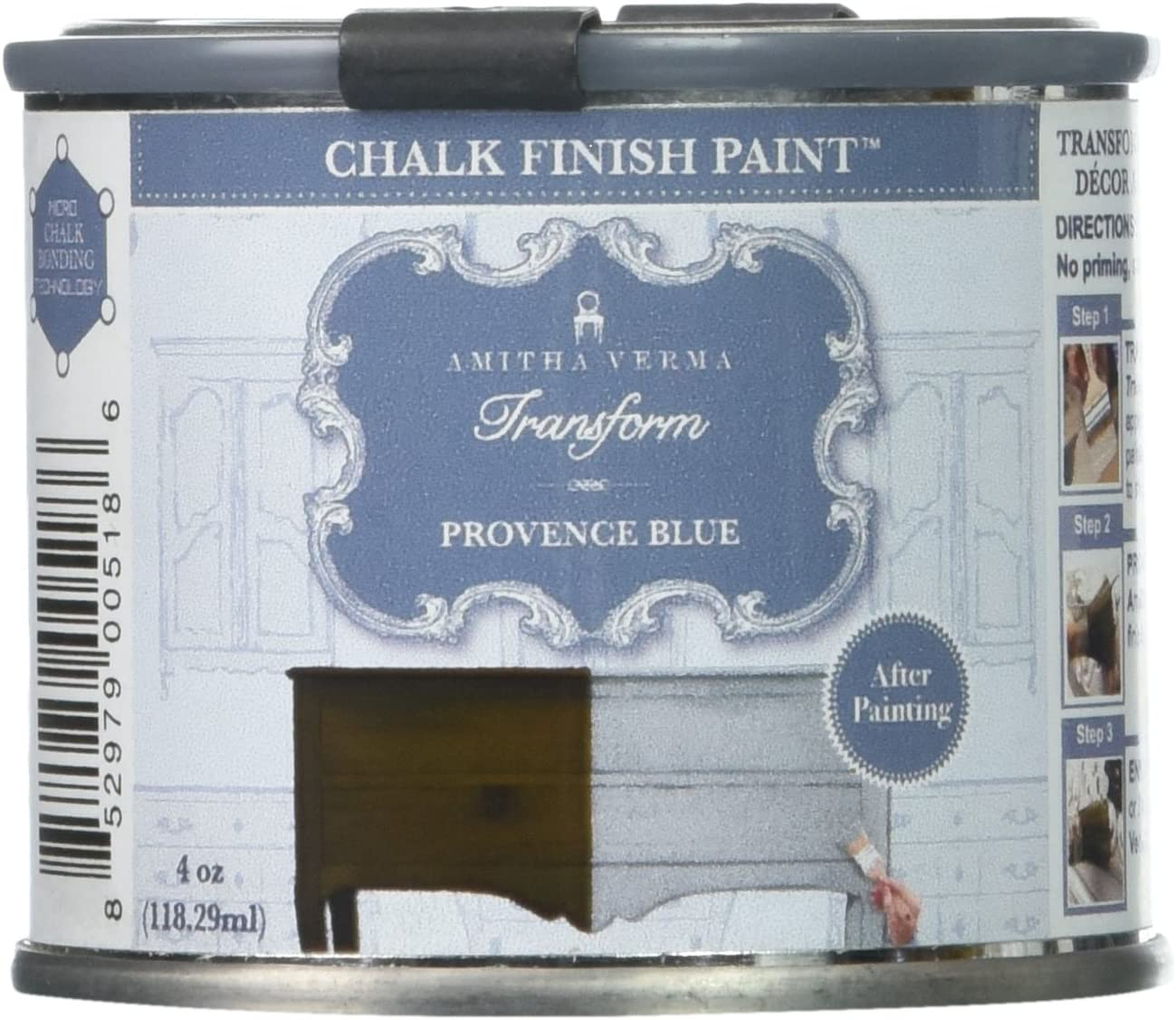 Amitha Verma Chalk Finish Paint, No Prep, One Coat, Fast Drying   DIY Makeover for Cabinets, Furniture & More, 4 Ounce, (Provence Blue)