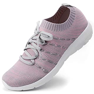 EvinTer Women's Walking Shoes Lightweight Comfortable Shoes Casual Running Slip On Sneakers Grey/Pink