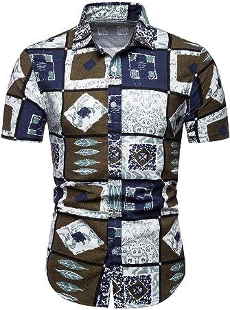 Camisa hawaiana de verano para hombre, playera tipo polo Aloha de manga corta, playera hawaiana, blusa informal, verano, vacaciones, Aloha Tee de secado rápido medium azul: Amazon.es: Hogar