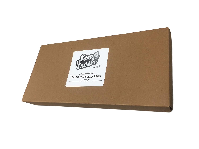 Box//100 KeepFresh 6 x 3.25 x 13.5 1.2mil Premium Gusseted Crystal Clear Cello OPP Polypropylene Bags