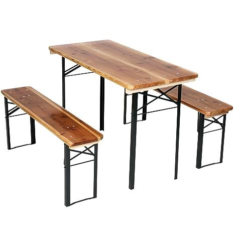 Miadomodo – Conjunto para picnic 1 mesa + 2 bancos plegables de ...