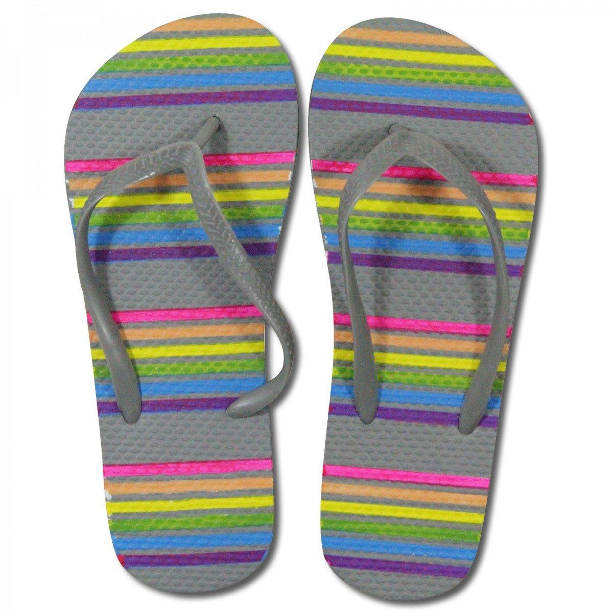 Damen Sandalen Zehentrenner gemustert in verschiedenen Größen, Größe:38/39, Farbe:pink/weiß/schwarz