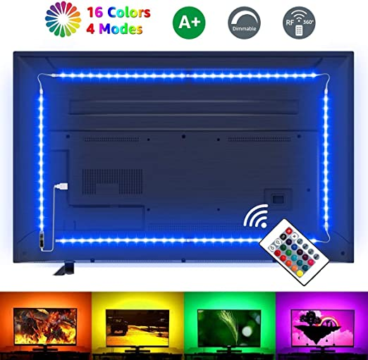 LE 2M LED Tira de Luz TV, Tira de luz USB con Control Remoto RF, 5050