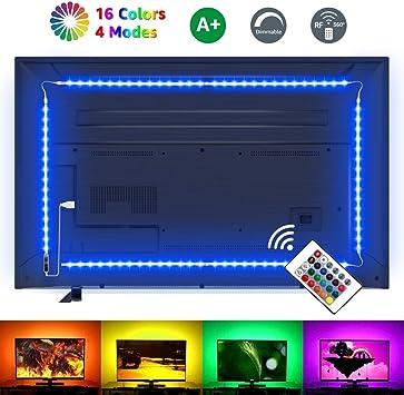 USB TV-Hintergrundbeleuchtung mit 4 Leisten für Fernseher RGB RF Fernbedienung