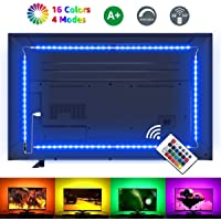 LE Striscia LED RGB 2m 5050 SMD, Striscia Luminosa USB Alimentata Retroilluminazione TV con Telecomando Wireless RF, 16 Colori Dimmerabile per Monitor PC TV da 32-65 pollici (4 Strisce LED da 50 cm)