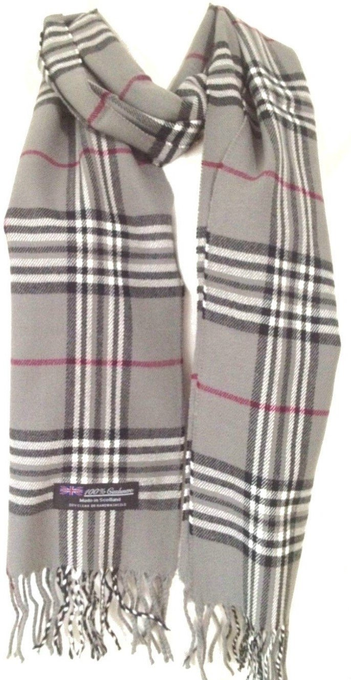 100% Authentic Real Cashmere Super Soft Gray Plaid Scarf - Unisex (Men/Women) - 12'' x 72'' long scarf - Lightweight - Cheapest Real Cashmere Scarf - Great Gift / Present