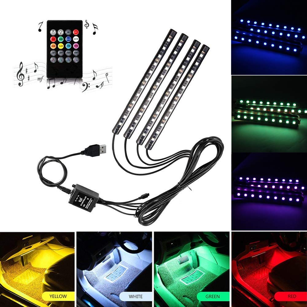 Yolu Car LED Strip Light, RGB 4pcs 48LED Multicolor Music Car Interior Lights Under Dash Lighting Waterproof Kit with Sound Active Function and Wireless Remote Control, DC 12V (USB Port)
