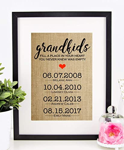 Grandma Gift Personalized Mothers Day Grandmother Grandparents Birthday Grandkids Fill A Place In Your Heart You Never Knew Was Empty 8x10 Or 11x14
