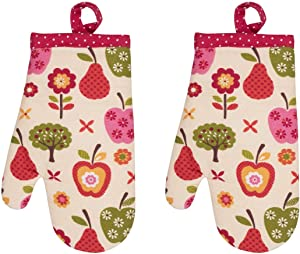 Handstand Kitchen Child's 100% Cotton Shell 'An Apple a Day' Pair of Oven Mitts