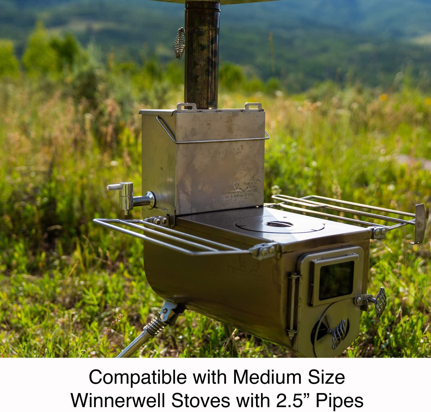 Winnerwell Water Tank Medium Compatible with Medium Size Wood Burning Tent Stoves Durable 304 Stainless Steel