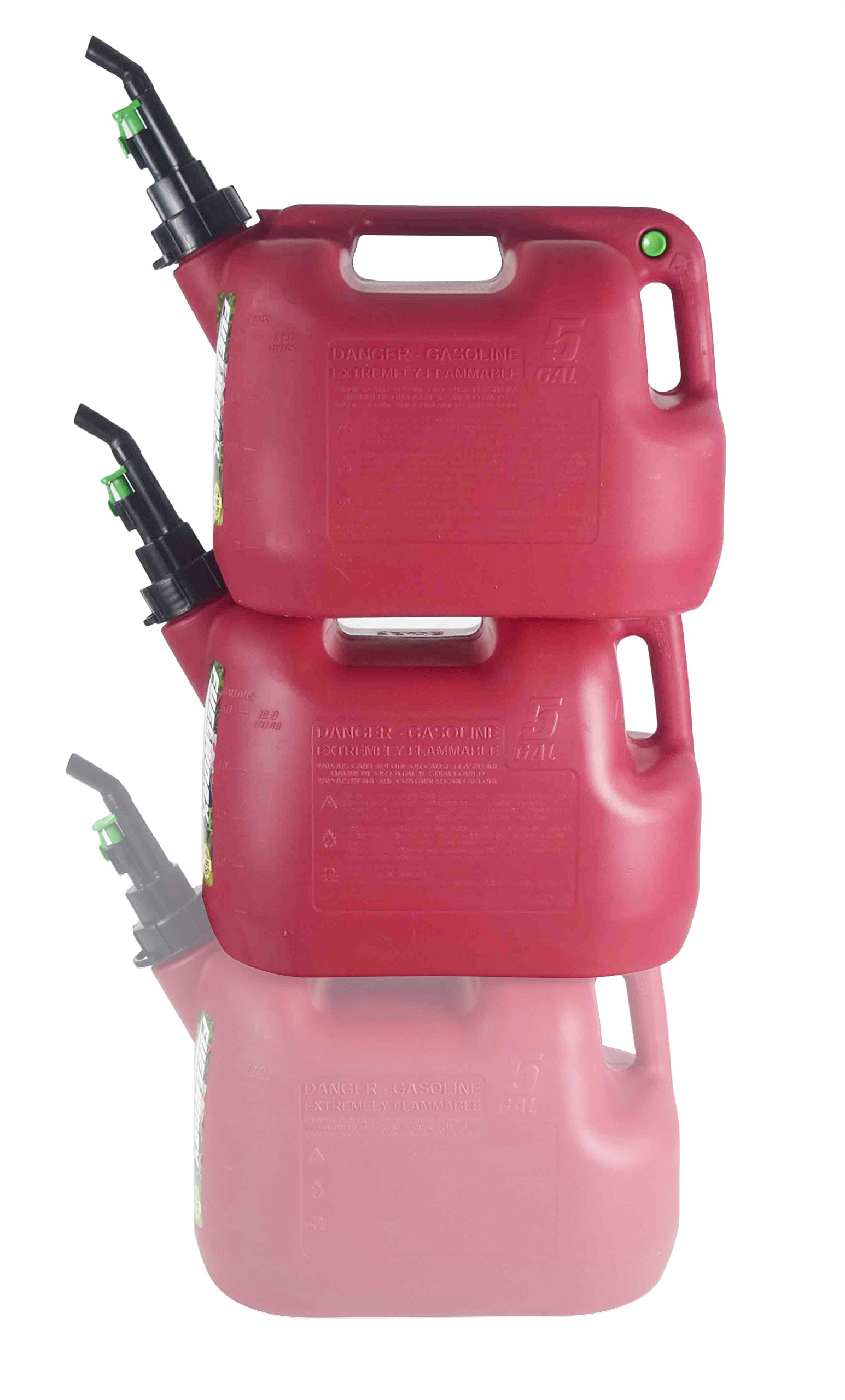Fuelworx Red 5 Gallon Stackable Fast Pour Gas Fuel Can CARB Compliant Made in The USA (5 Gallon Gas Cans 2 Pack) by Fuelworx
