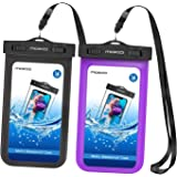 """MoKo Waterproof Phone Pouch [2 Pack], Underwater Waterproof Cellphone Case Dry Bag with Lanyard & Armband Compatible with iPhone X/Xs/Xr/Xs Max, 8/7/6s Plus, Samsung S10/S9/S8 Plus, S10 e, Up to 6.5"""""""