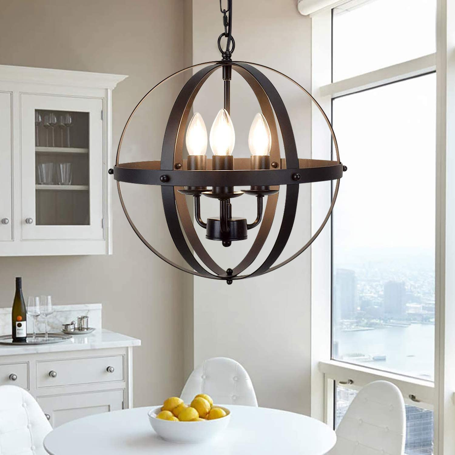 Ganeed Pendant Light, Industrial Globe Pendant Lighting, Vintage Chandelier Spherical Hanging Light, Ceiling Light Fixture for Kitchen Island Dining Table Farmhouse - -