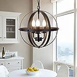 Ganeed Pendant Light,Industrial Globe Pendant Lighting,Vintage Chandelier Spherical Hanging Light,Ceiling Light Fixture…