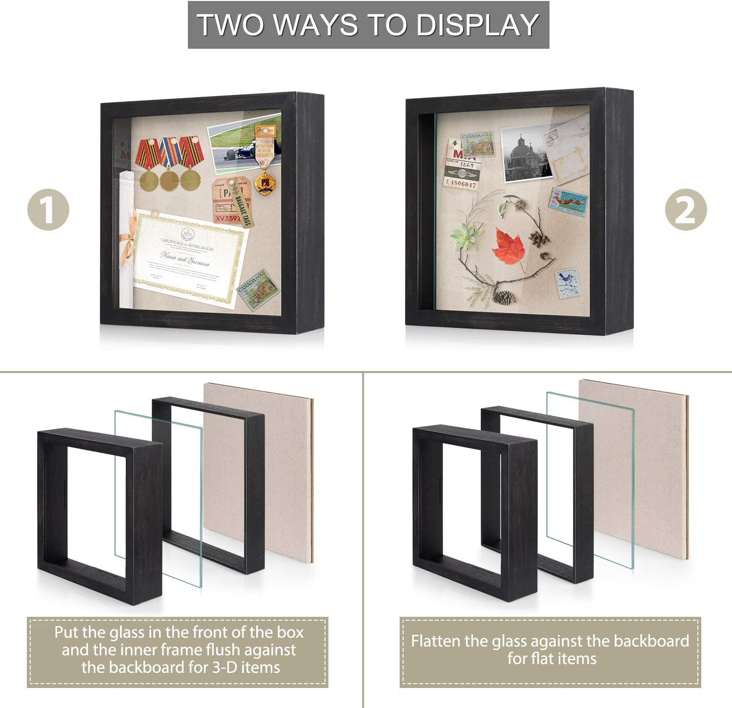 Love-KANKEI Shadow Box Frame 8x10 Shadow Box Display Case with Solid Wood Frame and Removable Glass Window Memory Box for Memorabilia Photos Awards Medals Weathered Black