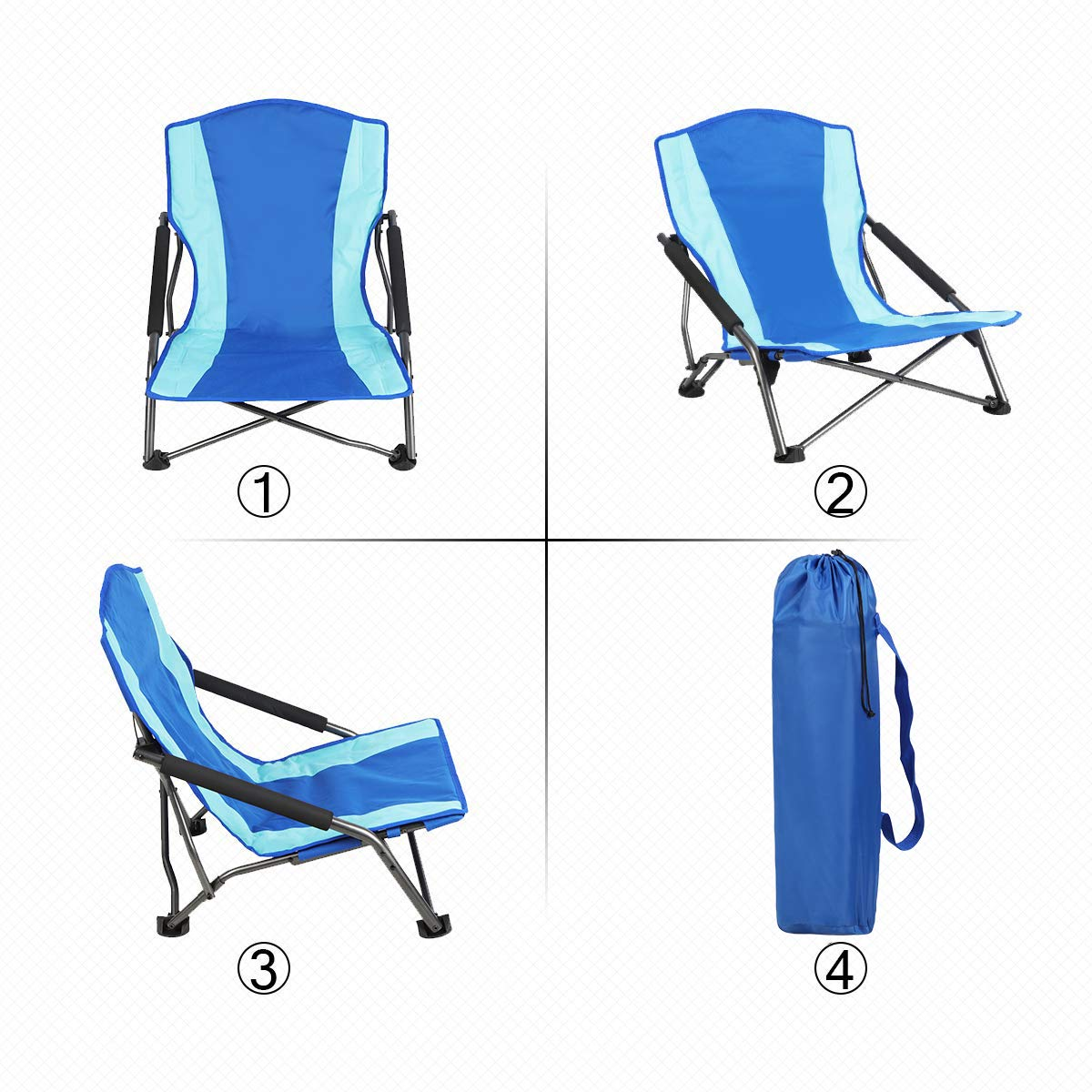 PORTAL Low Beach Camp Chair Folding Compact Picnic Concert Festival Chair with Carry Bag Hengfeng