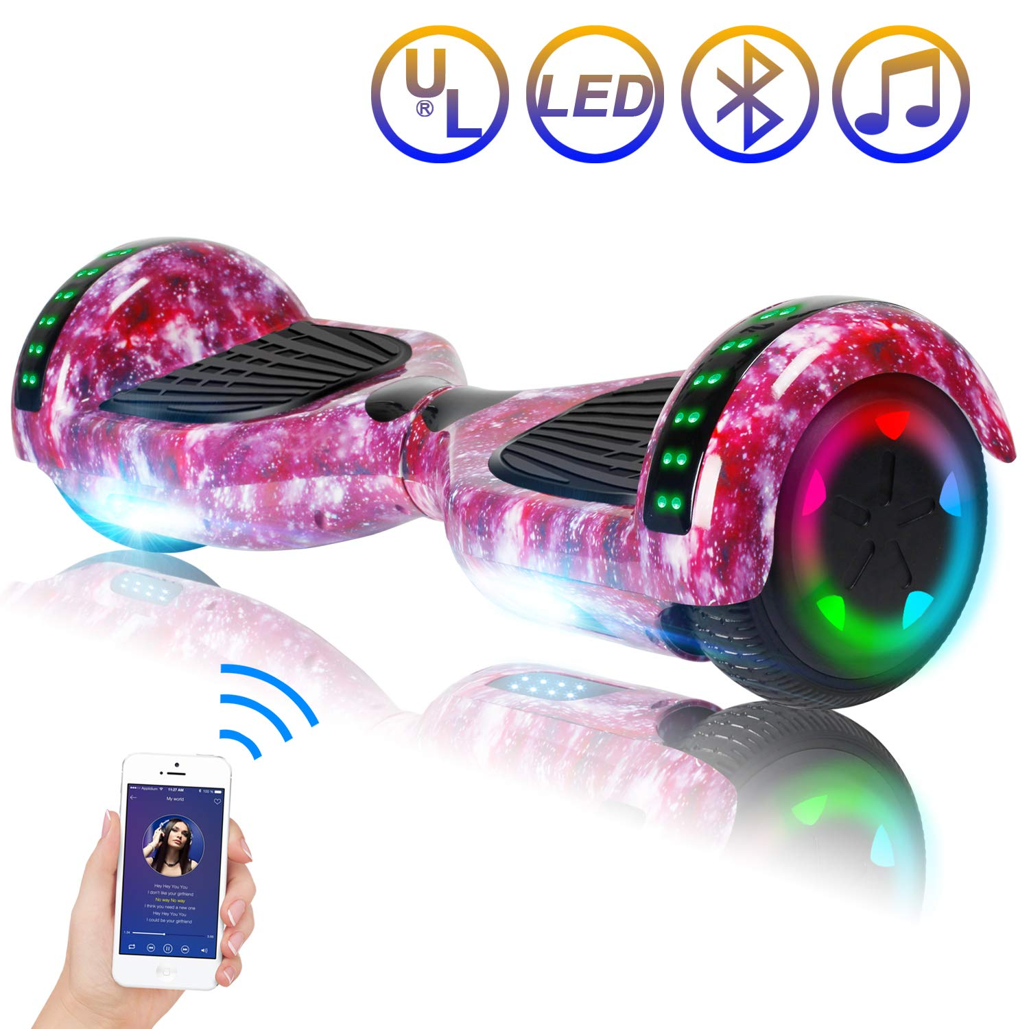 Hoverboard Self Balancing Scooter 6.5'' Two-Wheel Self Balancing Hoverboard with Bluetooth Speaker and LED Lights Electric Scooter for Adult Kids Gift UL 2272 Certified Fun Edition - Purple Galaxy