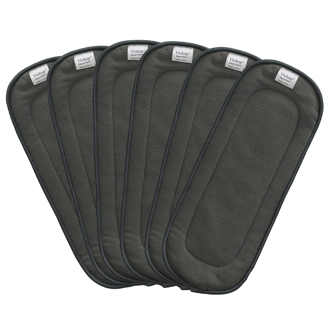 Vlokup Baby Cloth Diapers Inserts Overnight 5 Layer Infant Charcoal Bamboo Diaper Inserts Reusable Liners for Cloth Pocket Diapers Pack of 6