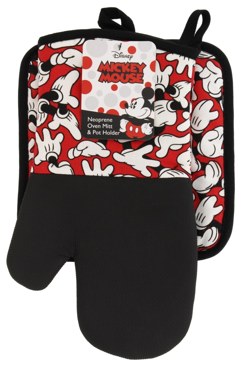 Disney Puppet Oven Mitt & Potholder w/Neoprene for Easy Gripping, Heat Resistant up to 500 degrees F, Mickey Mouse Glove, Red