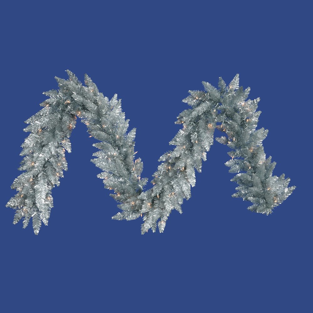 Vickerman K166915LED Garland with 250 Pvc Tips & 100 Dura Lit Led Italian Style Lights on Wire, 9' X 14'' , Sliver