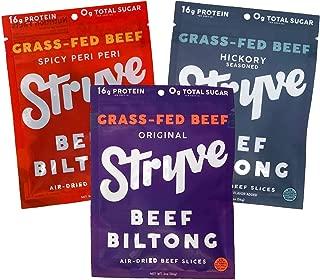 product image for Stryve Beef Biltong, Grass-fed Biltong Jerky, 16g Protein, 0g Sugar, 1g Carb, Gluten Free, No Hormones, No Antibiotics, No Preservatives, No Nitrates - Variety 3-Pack, 2oz