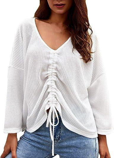 RISTHY Blusas Mangas Largas Mujer Moda Camiseta Otoño Casual Suelto T-Shirt Pullover Tops Lisos Camisas Cuello V Camisa Suelta Mujer Casual Verano Invierno Primavera Shirts: Amazon.es: Ropa y accesorios