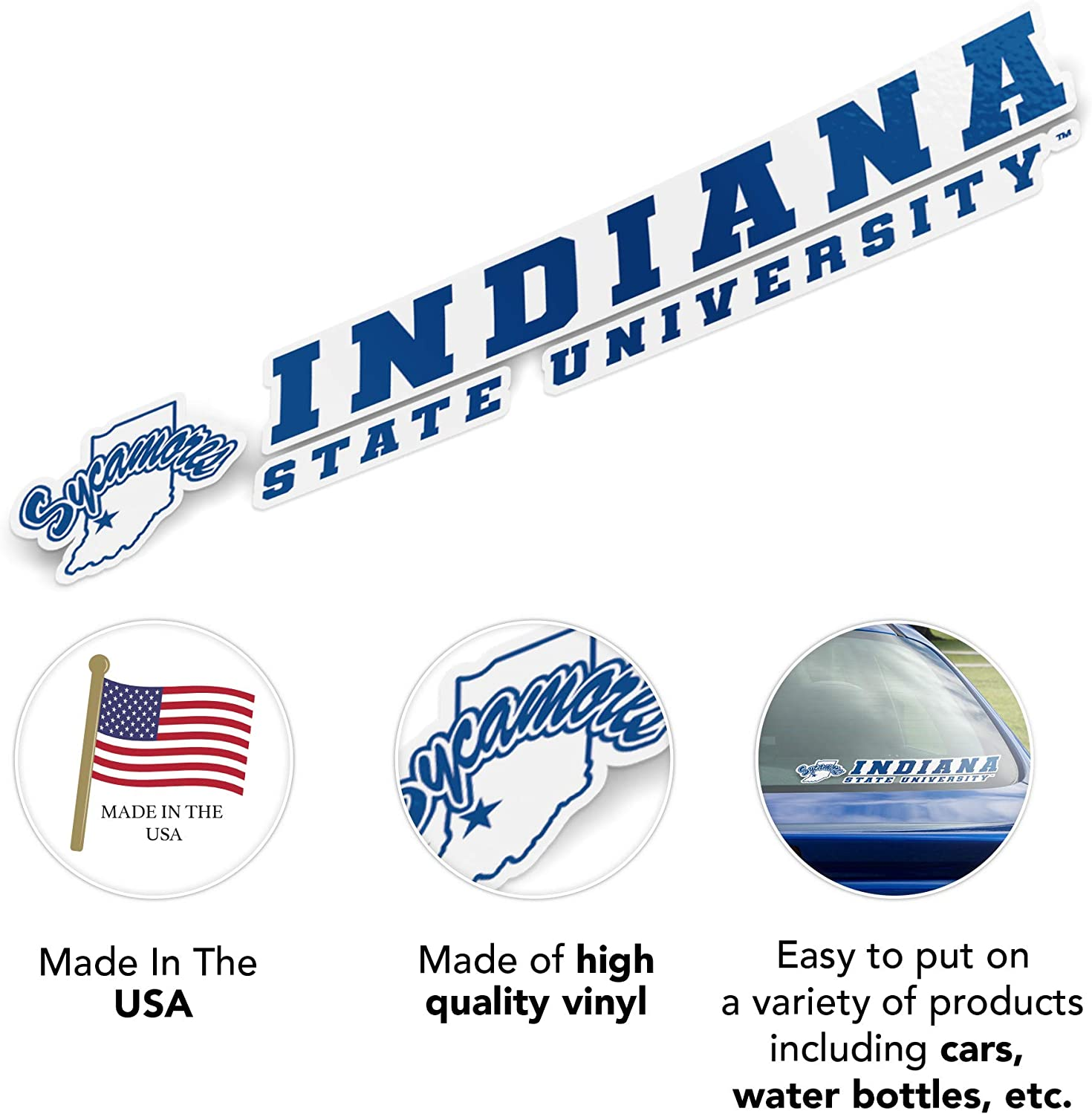 Indiana State University ISU Sycamores NCAA Name Logo Vinyl Decal Laptop Water Bottle Car Scrapbook 8 Inch Sticker