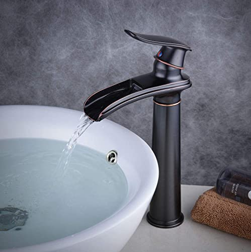 Waterfall Sink Faucet for Bathroom Single Handle Single Hole Oil Rubbed Bronze Beelee BL6775HB