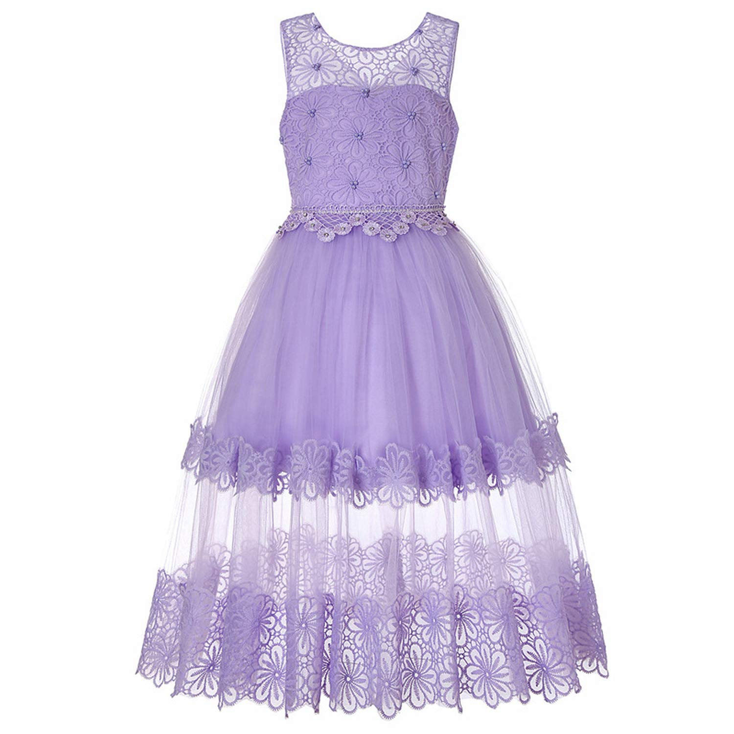 Kids Dresses for Girls Clothes Chiffon Girls Dress Wedding Birthday Party Costume for Kidss,Purple,10