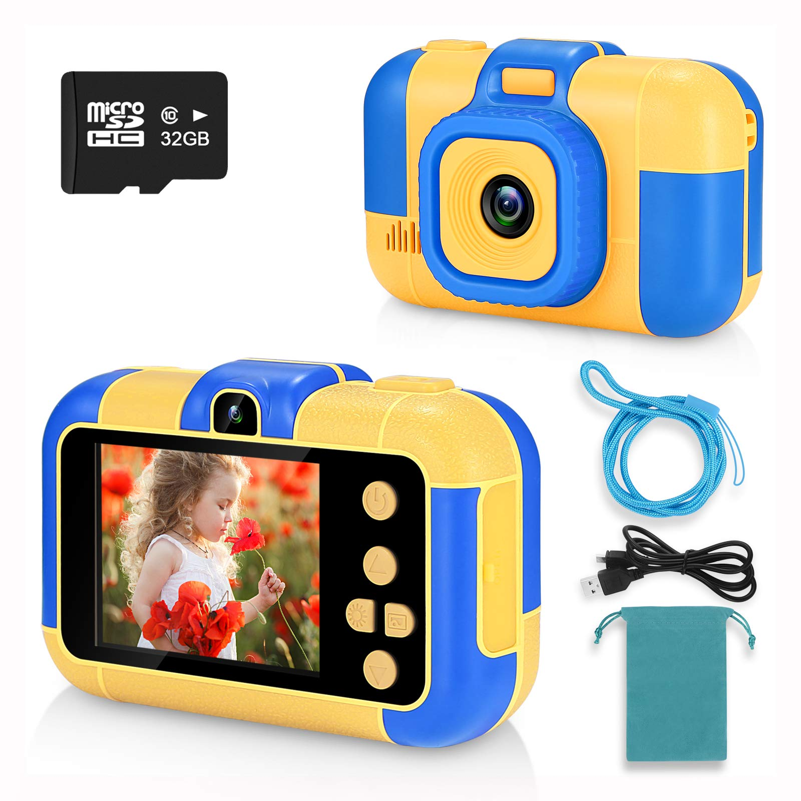 with 32G TF Card,Pink 1080P 3.5inch HD Digital Camcorder with Mp3 for 3-9 Years Old Children Birthday Christmas SUZIYO Kids Selfie Camera Gifts for Boys Girls Best Perschool Toys for Toddlers