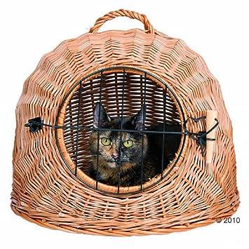 Mimbre Cesta de gato puerta de malla y asa Viaje Transporte Cave seguro Snuggle: Amazon.es: Productos para mascotas